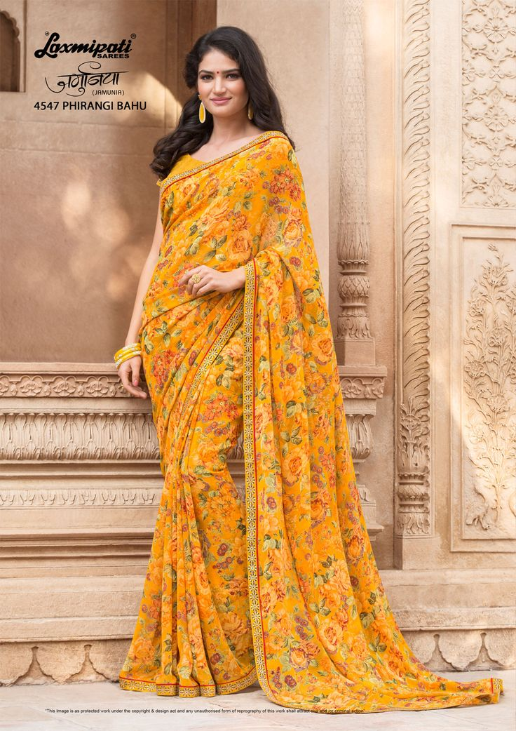 Browse this Admirable Yellow Colored #Georgette #Floral_Printed #Saree and Yellow Colour Georgette Blouse along with Rawsilk Work Lace Border from Laxmipati Sarees.  #Catalogue #JAMUNIA #DesignNumber: 4547 #Price - ₹ 1525.00 Visit for more #designs @  #Bridal #ReadyToWear #Wedding #Apparel #Art #Autumn #Black #Border #MakeInIndia #CasualSarees #Clothing