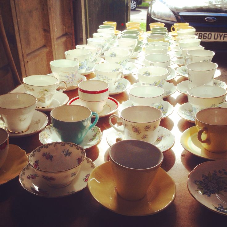 Wedding vintage tea cups collection