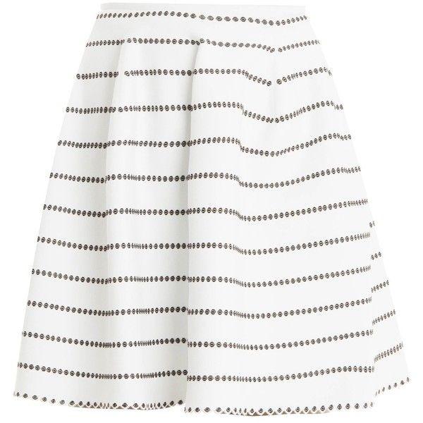 Alaia Dotted Skirt (52.615 RUB) via Polyvore featuring skirts, preppy skirts, polka dot skirt, puffy skirts, short white skirt и alaïa