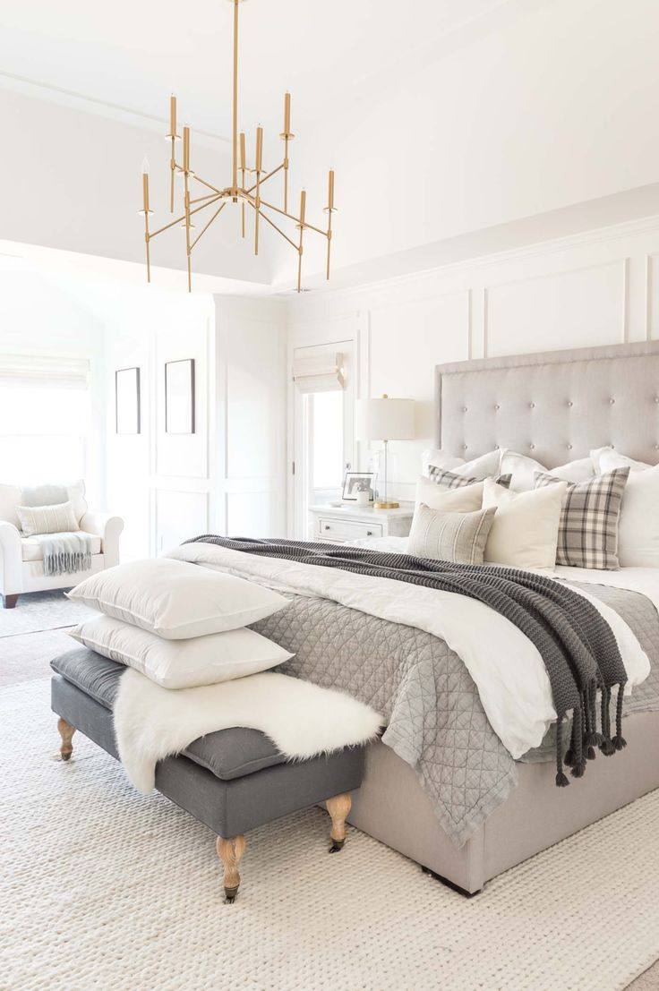 Neutral winter bedroom ideas with layers and gray …