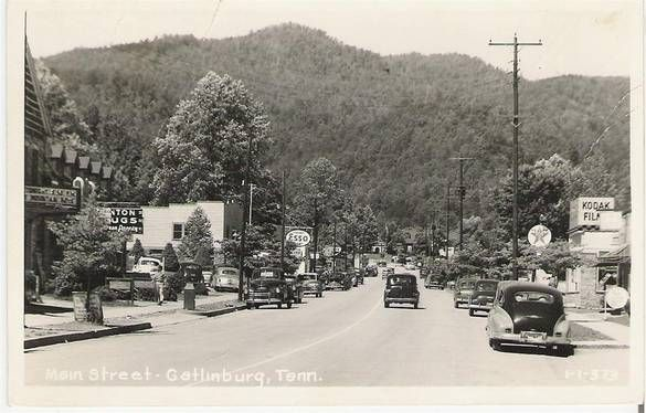 old gatlinburg | Old photo of Gatlinburg main street in 1949 old gas signs and a old ...