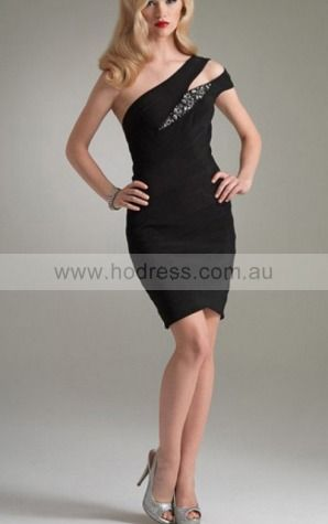 Sheath One Shoulder Knee-length Polyester Natural Formal Dresses gt3004--Hodress