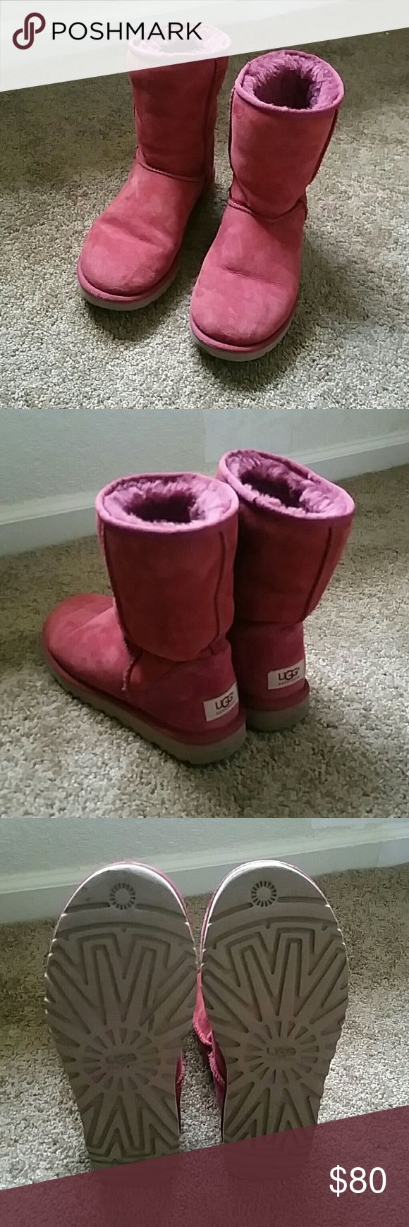 Classic short UGG boots Raspberry color, size 8, very good condition UGG Shoes Winter & Rain Boots