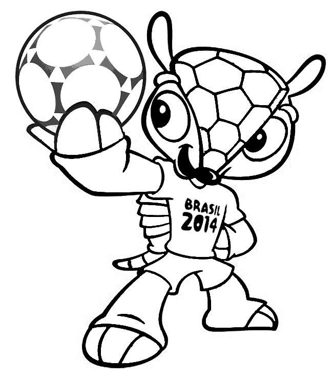 Voetbal: kleurplaat mascotte 2014 fuleco