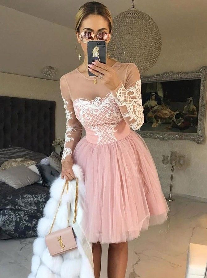 Short A-Line Round Neck Pink Prom Dress with Appliques Sleeves – Cocktailkleider