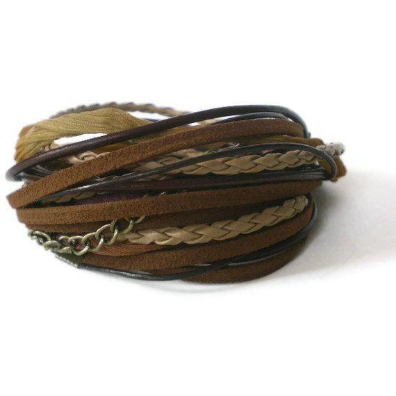 brown leather wrap bracelet boho suede chain ribbon by jcudesigns, £17.00