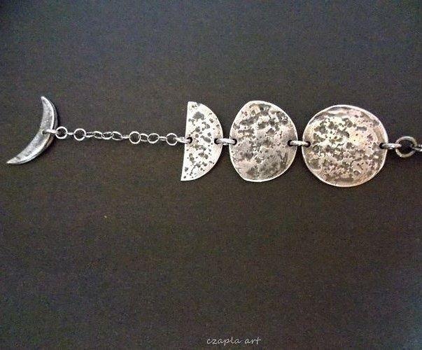 Lunar cycle http://polandhandmade.pl #polandhandmade #metalclay, #czaplaart