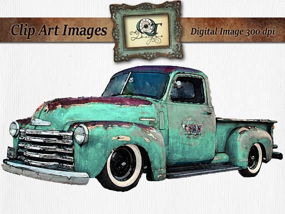 Turquoise Watercolor Vintage Truck Clipart Rusty Rustic ...