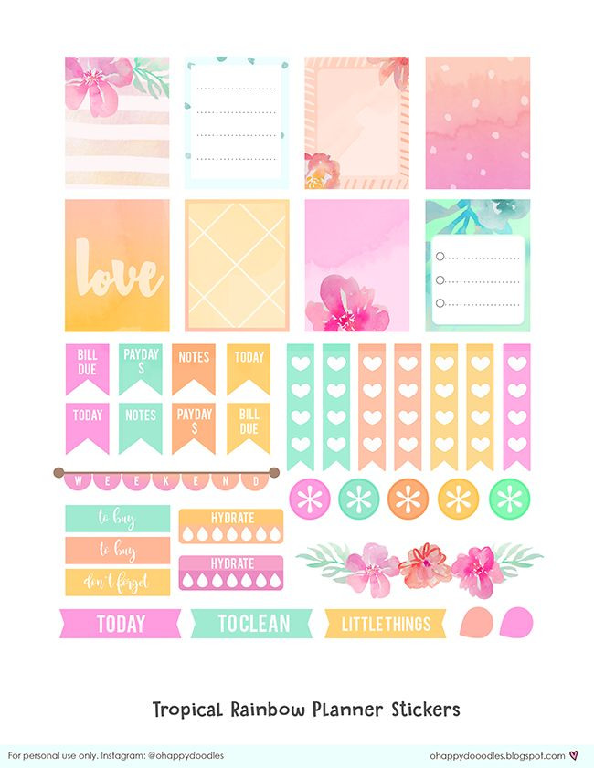Tropical Rainbow Planner Stickers - freebies - ohappydoodles