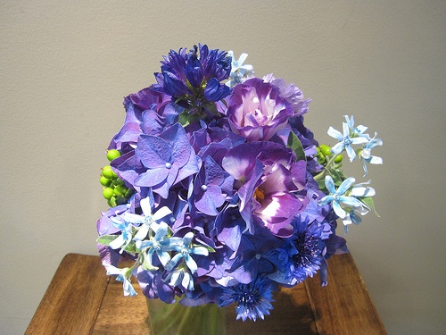 Purple Bridesmaid Bouquet, Appleton Wedding Flowers, Bridesmaid Bouquet, purple hydrangea, lisianthus, tweedia, hypericum berries, bachelor buttons, cornflower    www.branchingoutco.com