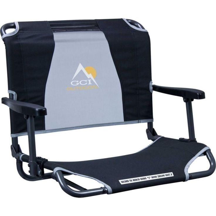 GCI Outdoor Big Comfort Stadium Chair with Armrests, Black