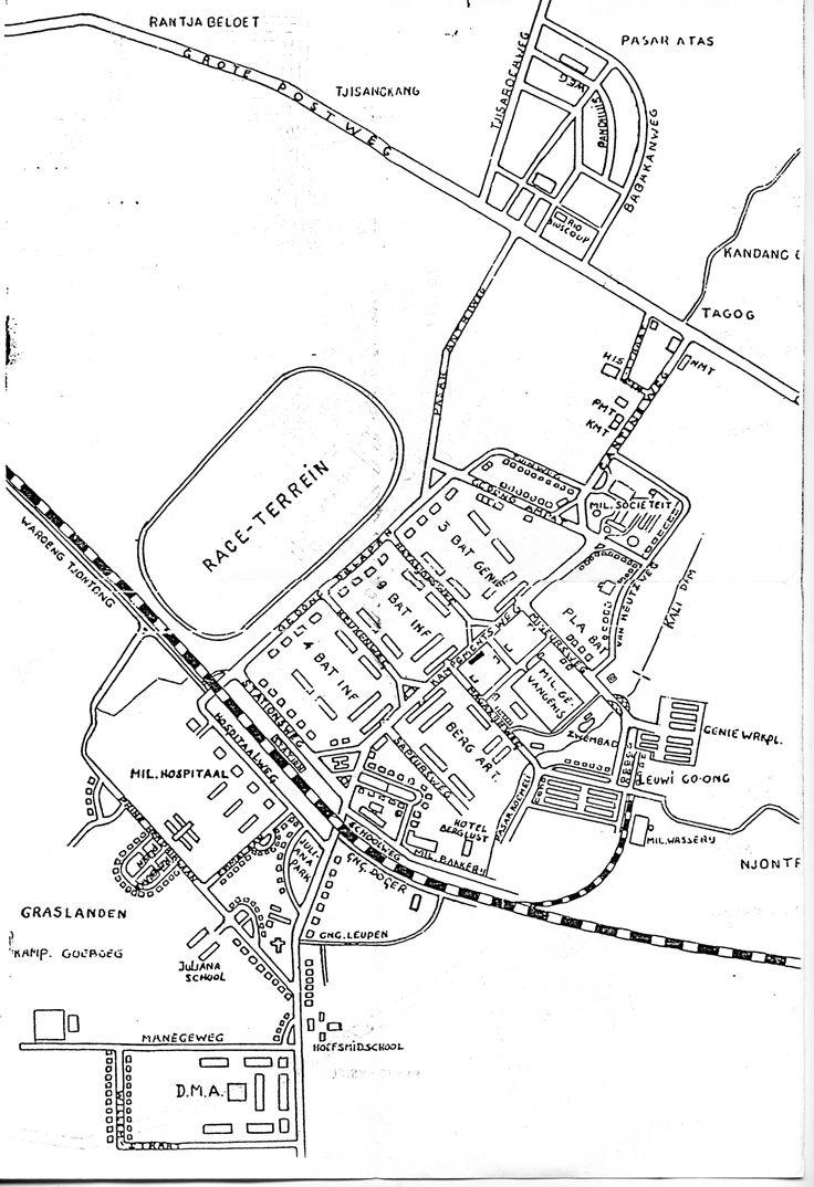 Kaart van KNIL garnizoensplaats Tjimahi - 1940