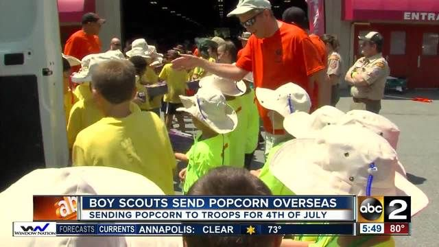 Troops in Afghanistan will receive popcorn from Baltimore area Boy Scouts for July 4