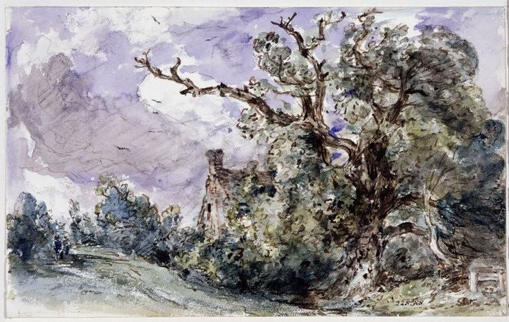 A cottage by a wood at Findon, Sussex, John Constable, 1834