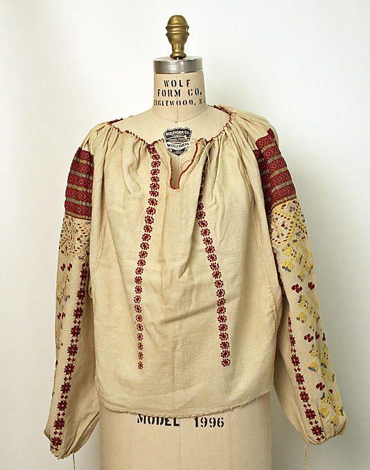 Blouse Date: 20th century Culture: Romanian Medium: cotton, silk