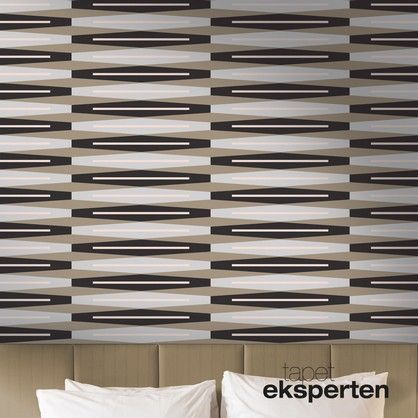 Suites retro tapet  Flot og elegant grafisk tapet i farverne sort, sand, lyseblå og lyserød. Det stringente og minimalistiske mønster gør at tapetet passer perfekt til det moderne danske hjem