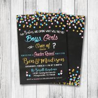 Twins Gender Reveal Party Invitation - Boy, Girl or One of EACH - Gender Reveal Party - Confetti Blue & Pink Gender Reveal Invitation - Double Sided -