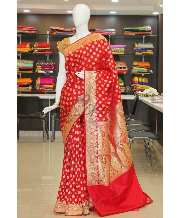 Chilli Red Banarasi silk saree in rich pallu