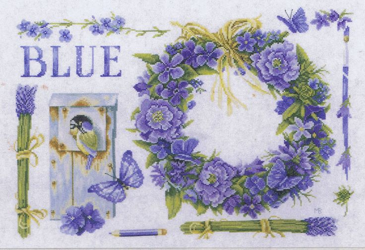 A lovely design in blue with flowers, butterflies and tiny birds in a bird box.