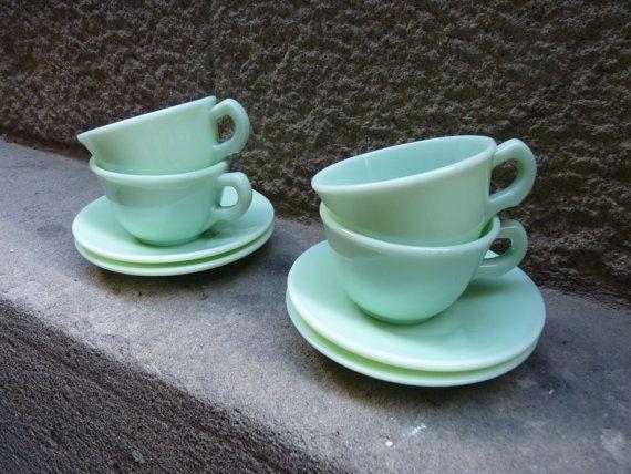 Precioso set de 4 tazas y platitos en cristal por Mementosbcn