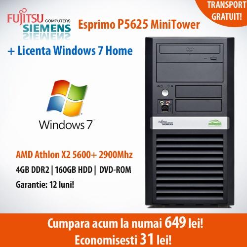 Recomandarea noastra astazi!  Calculator Fujitsu Siemens Esprimo P5625 MiniTower cu procesor AMD Athlon x2 5600+, 4 GB DDR2, HDD 160 GB, DVD-ROM cu Licenta Windows 7 Home, la numai 649 lei!