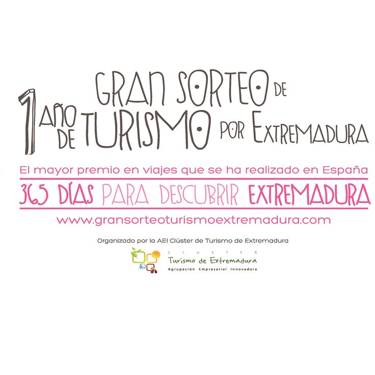 Gran Sorteo Un Año de Turismo por Extremadura. http://www.apartamentoturisticomontesol.com/blog-1/gran-sorteo-un-ano-de-turismo-por-extremadura-101