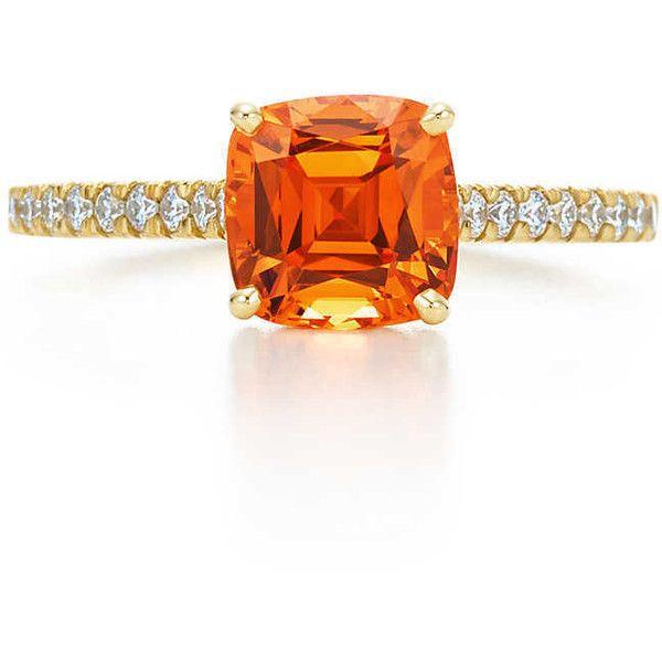Orange Spessartite Ring (168,755 MXN) ❤ liked on Polyvore featuring jewelry, rings, orange ring, 18k ring, orange jewelry, 18 karat gold jewelry and 18k jewelry