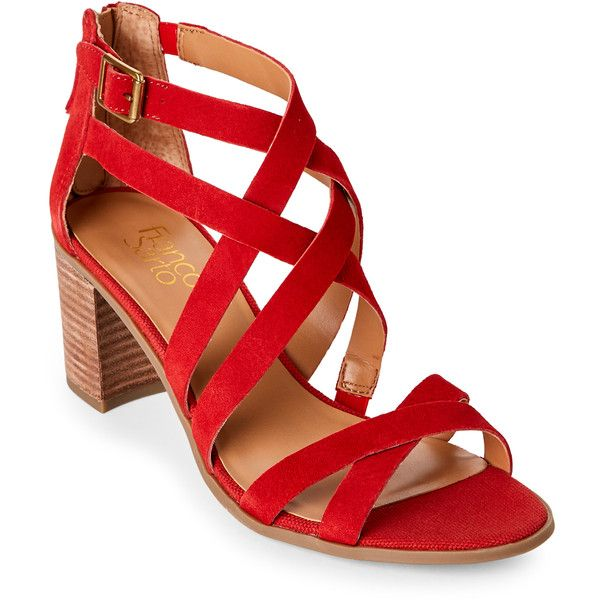 Franco Sarto Paprika Red Hachi Block Heel Sandals ($23) ❤ liked on Polyvore featuring shoes, sandals, red, high heeled footwear, criss-cross sandals, red sandals, red strappy sandals and strappy high heel sandals