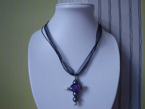 Grey Purple and Black Cross by traceysjewellery on Etsy, £3.99