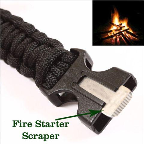 4 in 1 Flint Fire Starter Whistle, Survival Gear Buckle Paracord Rescue Rope Escape Bracelet