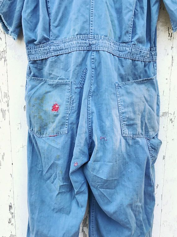 Vintage Coveralls Mechanic Jumpsuit Workwear Herringbone Sz M