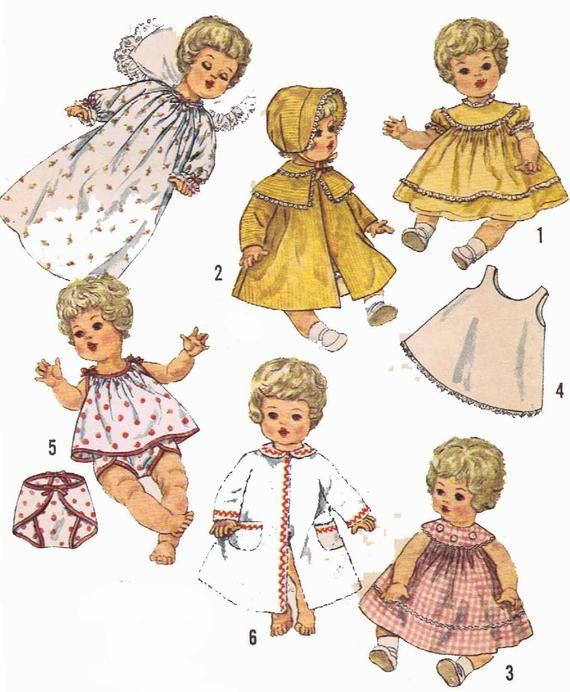Vintage Doll Clothes PATTERN 4727 for 20 in Betsy Wetsy Carrie Cries Sweetie Pie