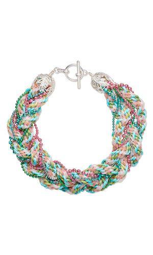 pulsera con cable de Kumihimo algodón encerado, cadena de bola de latón, cadena de bola de acero y latón color plata casquillos del grano - Fire Mountain Gems and Beads