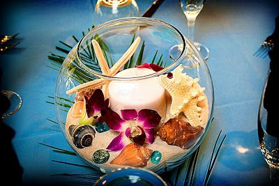 DIY Beach Wedding Centerpiece- Fish bowl, candle, sand, starfish, shells, and a few flowers. Pretty, plus easy to put together!