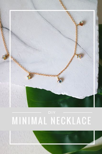 DIY Minimal Rhinestone Necklace - La creme
