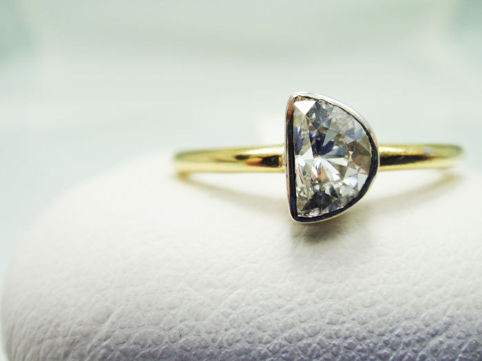 For a cosmic love. Half Moon Diamond Engagement Ring 14k by TheEyeofTheMoonJewel.