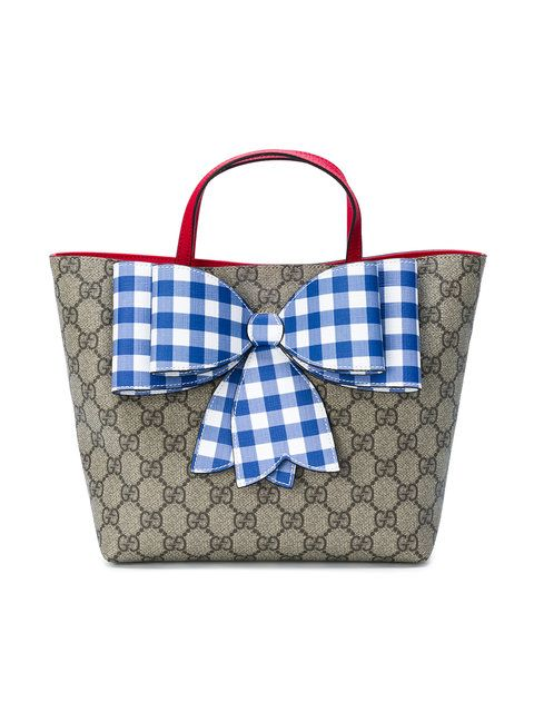 ebfc2ed946a0f7 Gucci Kids gingham bow GG Supreme tote bag | Kids' Clothing, Shoes ...