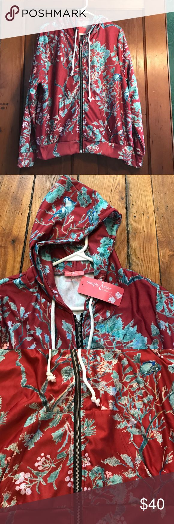 Red Floral Zip Up Hoodie NWT Soft, comfy, chic hoodie Simply Aster Tops Sweatshirts & Hoodies