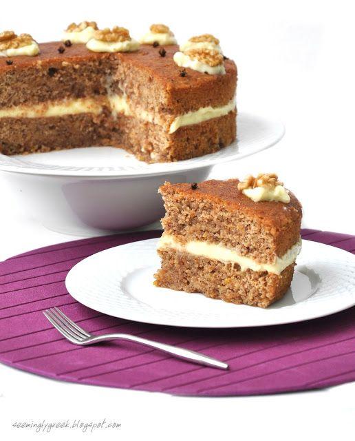 Walnut Syrup Cake with Vanilla Creme Filling  (Καρυδόπιτα, pronounced Karidopita)