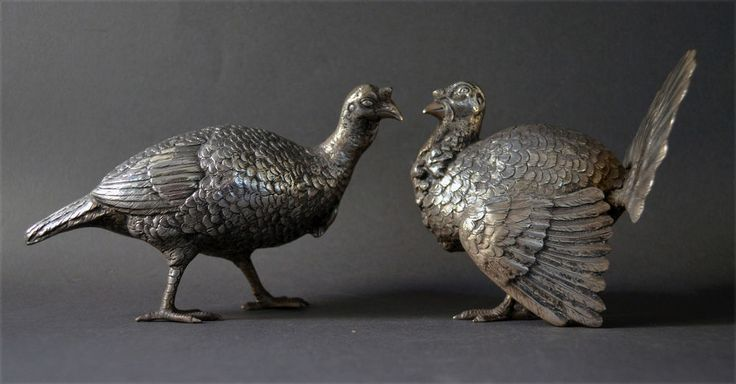 RARE 19TH C PAIR GERMAN SOLID SILVER MALE FEMALE TURKEY FIGURES HUNTING HUNTERS