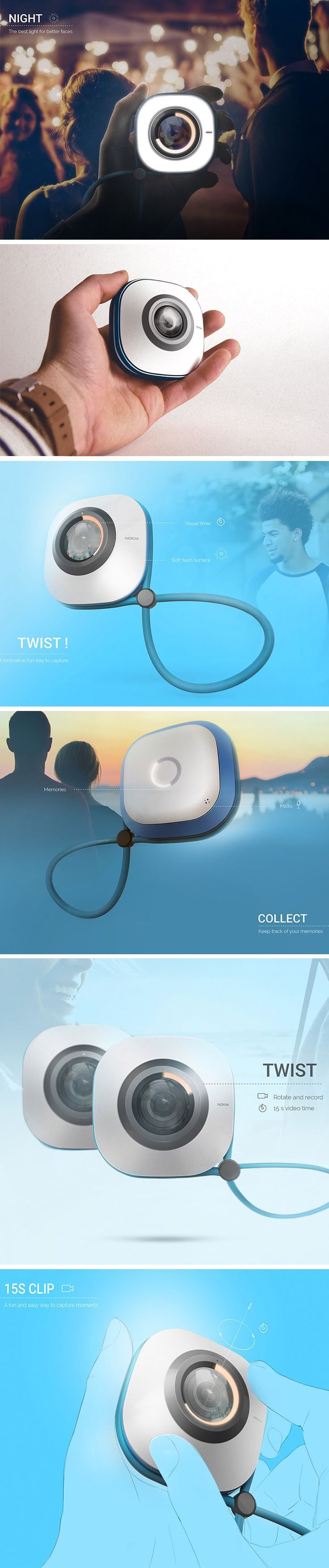 """We miss out on the very experiences we want to remember by constantly being in """"document"""" mode! Designed with this in mind, the Nokia Twist offers a quick and easy way to capture the moments that matter. Rather than film, edit, and filter through a phone, users can grab 15 second recordings to revisit later."""
