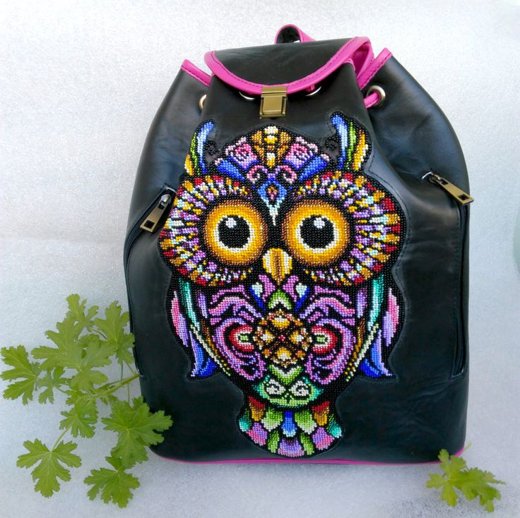 Backpack, Travel bag, leather backpack, owl, school bag, college backpack, school backpack, black bag, tote bag, hobo bag by Yourembroidereddream on Etsy