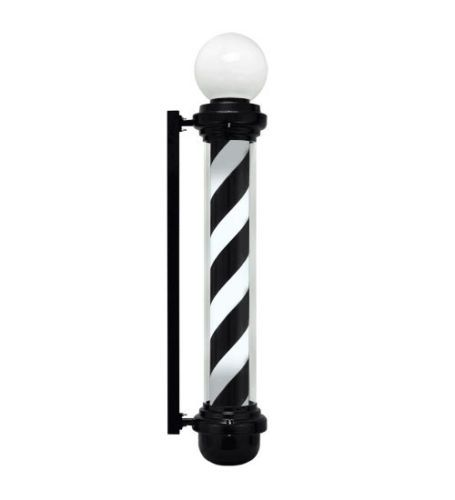 "Large 40"" Barber Pole Light Black White Retro Rotating Metal Hair Salon Shop 