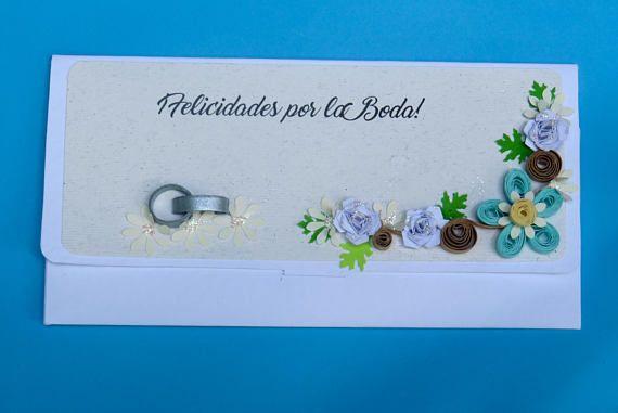 Sobre monedero floral turquesa  Regalo de robre  sobre