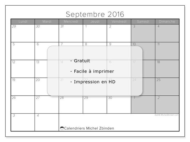 "Calendrier ""Belgique - Carolus"" septembre 2016 à imprimer"
