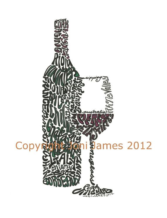 Word Art Typography Calligram: Wine Bottle and Glass by Joni James