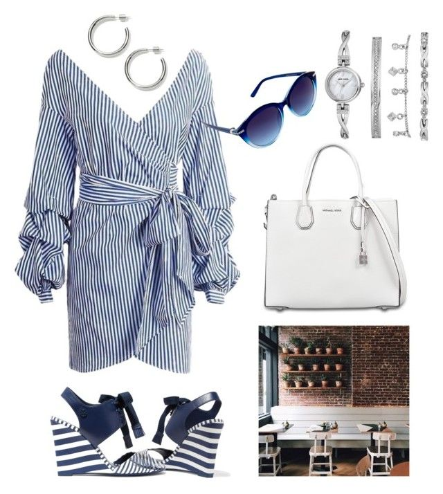 """Summer coffee and stripes"" by alexiss-yvore on Polyvore featuring Tory Burch, Coffee Shop, MICHAEL Michael Kors, Anne Klein, Nanette Lepore and CoffeeDate"