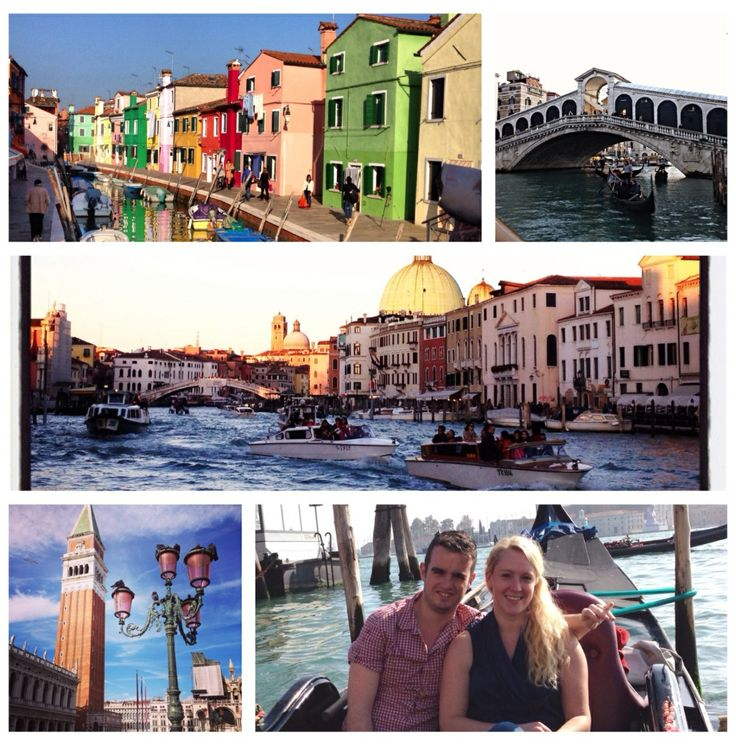 I love the beauty and colours of Venice, Italy. Pictures from top left: Burano island, Rialto Bridge, the Grand Canal, Piazza San Marco, Gondola ride ❤️