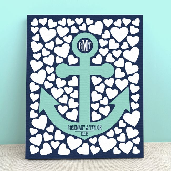 Anchor Hearts Guest Book - Anchor Hearts Personalized Wedding Invitations - Peachwik