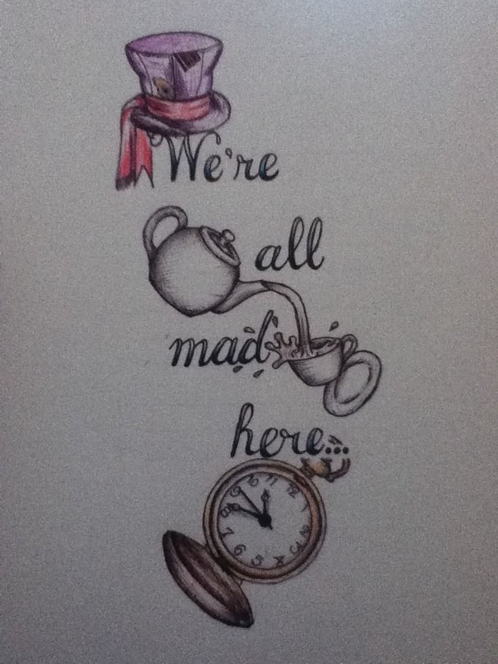 """karatechopcity: """"I want a tattoo on my inside left forearm when I'm 18 that reads 'We're all mad here…' so I'm trying to come up with some designs and this is my first attempt """" I would love to get this, but move the hat a little bit higher up"""